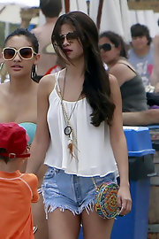 Selena Gomez was dressed down in frayed Levi's shorts and a camisole while out and about in Malibu.