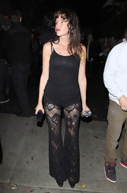Paz de la Huerta put her legs on display in a pair of see-through black lace pants while partying at Chateau Marmont.