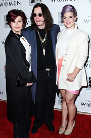 Kelly Osbourne attended the Evening with Women gala wearing a baggy white tweed coat.