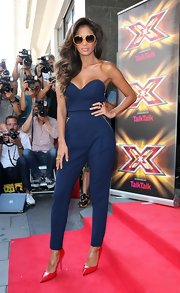 Nicole stunned in a navy blue sweetheart neck jumpsuit at the 'X Factor' new season launch.