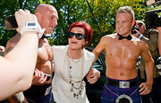 Sharon Osbourne wore a multi-layered pearl necklace at the 'X Factor' live auditions.