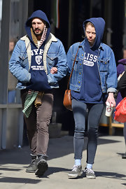Shia LaBeouf sported a denim jacket with fur trim for his casual and cozy look while out in NYC.