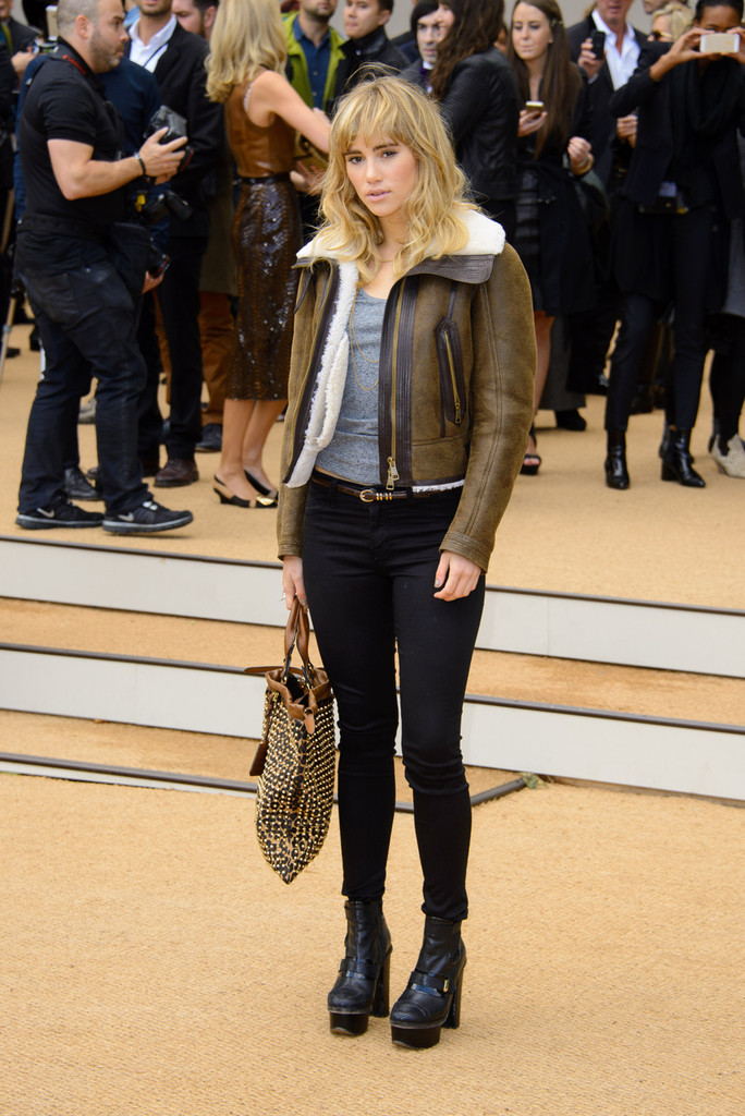 Suki Waterhouse arriving to attend the Burberry Prorsum Spring / Summer 2014 show at London Fashion Week in London.