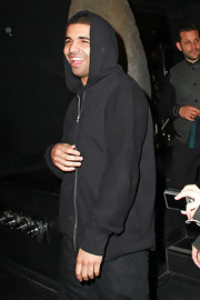Drake wore a black zip-up hoodie to Katsuya.