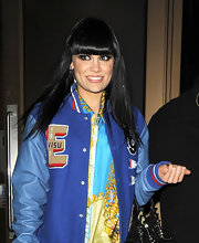 Jessie J. wore her long glossy locks straight and sleek with blunt lash-grazing bangs while out for an evening of bowling.