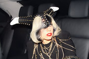 Lady Gaga stepped out in London wearing a spiked helmet-esque head piece.