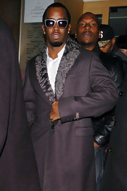 Sean Combs chose a gangster-chic gray coat for a dinner out at Nobu Berkeley Restaurant.