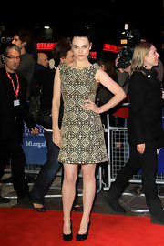 Katie McGrath looked fierce in a boatneck gold and black cocktail dress for the London Film Festival.