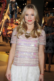 Kristen Bell attended the Phillip Green store opening in Las Vegas wearing her long locks in shiny waves.