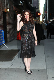 Debra Messing shined in this beaded black dress for her appearance on the 'Late Show With David Letterman.'
