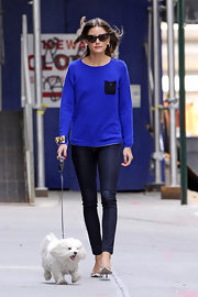 Olivia's royal blue sweater had a simple contrast pocket for a cute touch.