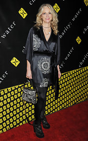 Nanette Lepore teamed her silky kimono dress with a playful zebra print purse at the Charity Ball.