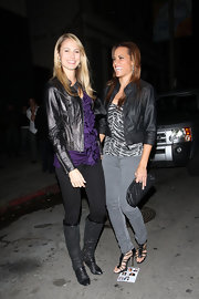 Stacy Keibler looked fierce in a black leather jacket.