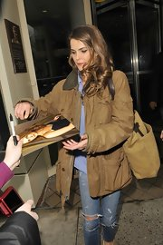 Keri Russell was dressed down in a tan utility jacket and ripped jeans while out in New York.