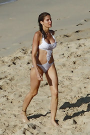 Stephanie showed off her model bod in a white monokini complete with crochet detailing and side-tie bottoms.