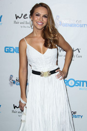 Chrishell Stause adorned her white dress with a beaded black belt for the Night of Generosity benefit.
