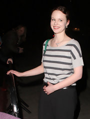 Thora Birch kept her after party look casual in a casual striped top.