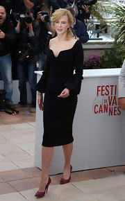 Nicole chose this black dress with a sculpted neckline and box-pleated sleeves for her look at the opening day of the Cannes Film Festival.