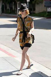 January looked so cute in this yellow paisley summer dress out in West Hollywood!
