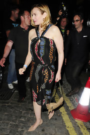 Kim Cattrall rocked a tribal-print halter dress while out at Mick Jagger's birthday bash.