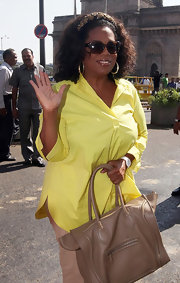 Oprah Winfrey went on a tour of Mumbai wearing a comfy yellow button-down.