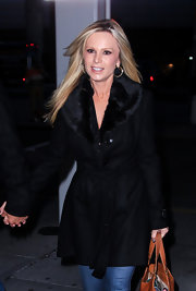 Tamra Barney traded in her Orange County duds in favor of a more NYC-look with this black wool coat with fur lapels.