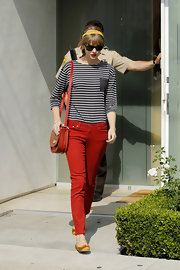 Taylor Swift jumped on the colored denim trend in this pair of bright red skinny jeans.