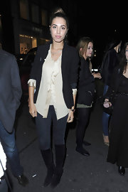 Amber Le Bon was seen at the D&G party wearing a pair of suede knee-high boots.