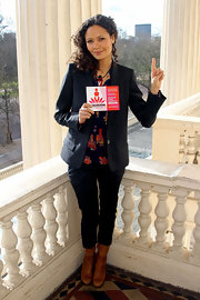 Thandie Newton wore classic black skinny pants to the One Billion Rising event in London.