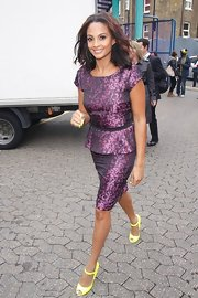 Alesha Dixon cut a feminine silhouette in a purple print peplum dress at the Prince's Trust Against All Odds Youth Forum.
