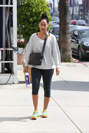 Tracee Ellis Ross stepped out sporting a cool gray sweatshirt for her workout look.
