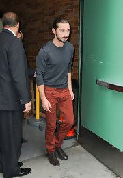 Shia LaBeouf appeared on 'Good Morning America' wearing jeans in an eye-catching rust color.