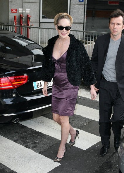 Sharon Stone stepped out it lovely black mesh pumps.
