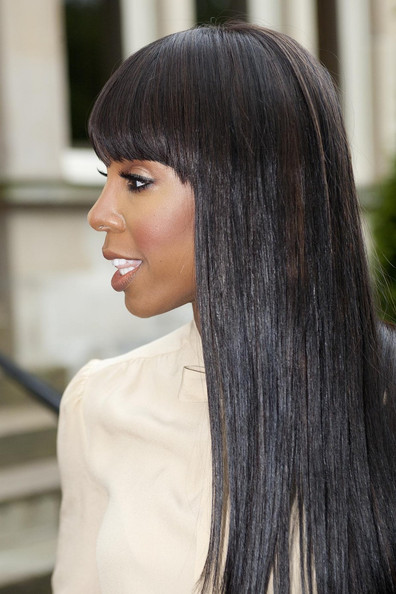 More Pics of Kelly Rowland Long Straight Cut with Bangs (3 of 11) - Kelly Rowland Lookbook - StyleBistro []