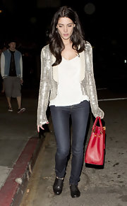 Ashley Greene sported a sequin cardigan for a more dressy casual look while out for dinner in LA.