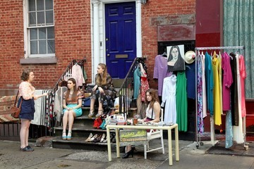 Jemima Kirke Alison Williams 'Girls' on Set in Soho