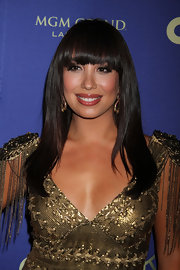 Cheryl Burke chose a dark flesh-toned lip gloss for her look at the opening of a Las Vegas nightclub.