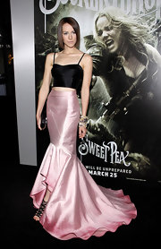 Jena wore a long silk pink ombre skirt with a mermaid train to the premiere of 'Sucker Punch.'