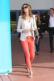 Ana Beatriz Barros showed off her impossibly slim legs in a pair of coral skinny jeans at Art Basel in Miami.