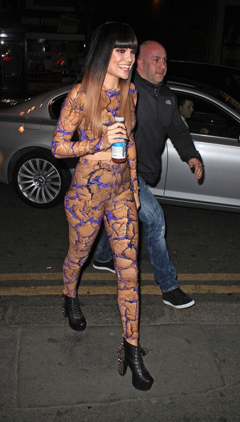 Jessie J. stepped out in London wearing a pair of platform ankle boots featuring silver spikes.