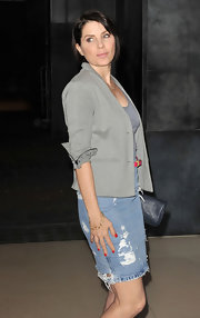Sadie Frost wore a distressed denim skirt to the Rodial Beautiful Awards in London.