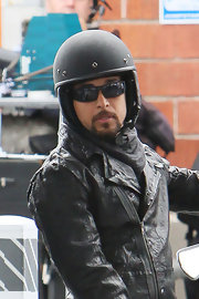 Wilmer Valderrama was spotted riding his Vespa scooter all geared up with a pair of shades.