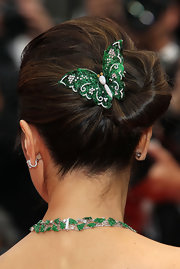 Michelle Yeoh showed off her decadent butterfly hair pin.