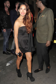 Preeya opted for a black strapless dress with a draped detail for her look at the 'Details' magazine party in London.