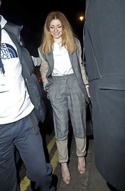 Nicola Roberts topped off her tailored look with nude platform peep-toe pumps.