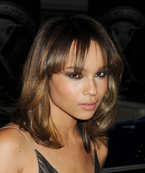 Zoe Kravitz Medium Curls with Bangs
