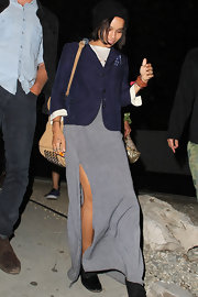 Zoe Kravitz rocked a navy blazer with a long maxi skirt while out in Hollywood.