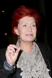 Sharon Osbourne Dined Out At Madeos Wearing A Pair Of Dangling Diamond Earrings