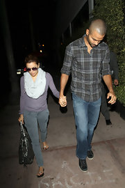 Actress Eva Longoria-Parker wore a pair of Houlihan skinny cargos in vintage navy while arriving at her restaurant Beso with husband Tony Parker.