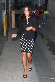 Rosario Dawson left the 'Jimmy Kimmel' show in a retro fab polka dot dress and black satin Wagner peep-toes.